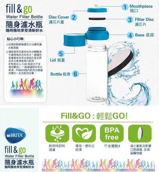 德國 BRITA Fill&Go 隨身濾水瓶 0.6L(時尚繽紛四色系列-藍色)【共1瓶1濾芯】