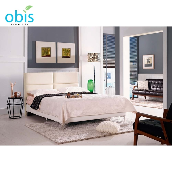 OB003-安蒂5尺雙人床(白色皮)(19CM/658-4)【DD House】