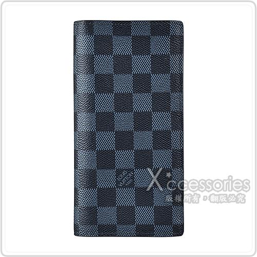 LV N63212 經典BRAZZA系列棋盤格LOGO DAMIER COBALT帆布直立對折長夾(灰藍)