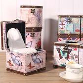 歐式卷紙盒 桌面創意可愛圓形方形紙巾筒 家用客廳無芯廁所抽紙盒 初見居家