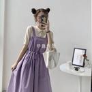 夏季新款韓版ins甜美紫色背帶裙 針織T恤兩件套女學生 快速出貨