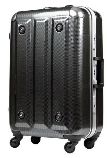 MOM JAPAN日本品牌 輕量化護角鋁框鏡面 旅行箱 -26吋-方格黑