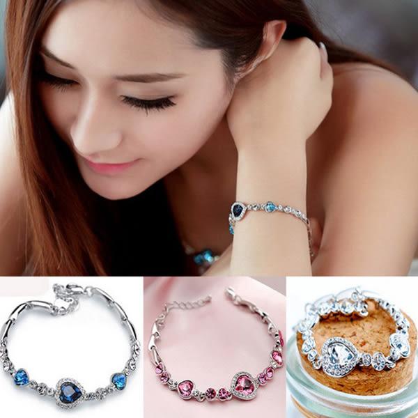 [24H 現貨快出] 韓國 時尚 海洋之心 水晶 手鍊 韓國 飾品 配飾 手鐲