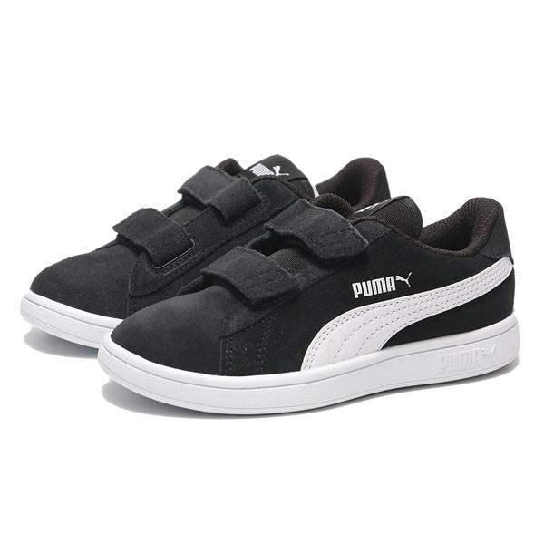 PUMA 童鞋 休閒鞋 SMASH V2 黑白 麂皮 魔鬼氈 運動 中童(布魯克林) 36517701