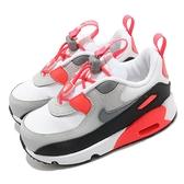 Nike 童鞋 Air Max 90 Toggle TD OG 原版 白灰 桃紅 氣墊【ACS】 CV0065-100