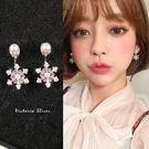 925純銀針  韓國優雅氣質  後掛式珍珠雪花 耳環-維多利亞181245