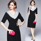 中大尺碼洋裝連身裙~高貴優雅氣質顯瘦修身包臀裙子女V領黑色短袖連身裙H405A莎菲娜