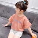 女童短袖上衣 女童t恤短袖夏中大童上衣潮童裝正韓洋氣荷葉邊兒童半袖-Ballet朵朵