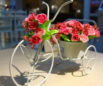 仿真花玫瑰鐵花車花藝假花套裝結婚裝飾禮品家居家飾擺設-wojia708