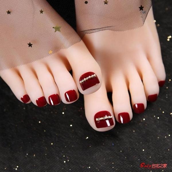 美甲貼 美甲工具成品腳趾甲假指甲貼片酒紅穿戴式可拆卸反復使用指甲片
