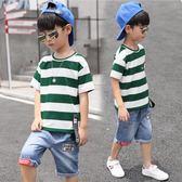 兩件套 男童夏裝套裝兒童夏季童裝中大童韓版短袖帥氣潮衣兩件套【全館九折】