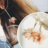 耳環《可改耳夾式》《可改S925銀針》A浪漫花朵水鑽垂墬式耳釘耳針 (SRA0068) AngelNaNa