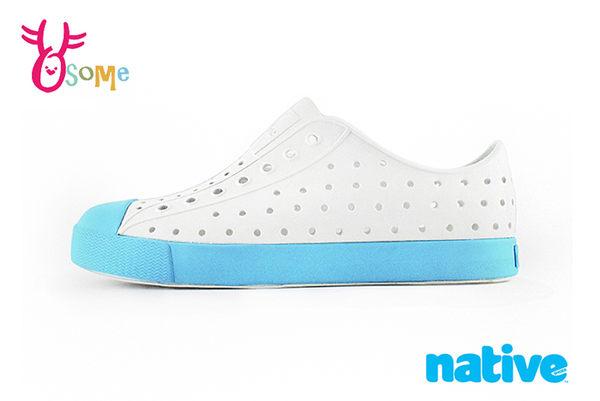native JEFFERSON 奶油頭鞋 水鞋 休閒洞洞鞋 中大童 K9443#白藍◆OSOME奧森童鞋
