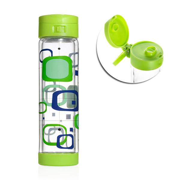 Glasstic │ 安全防護玻璃水瓶彩繪款 RETRO 綠 470ml
