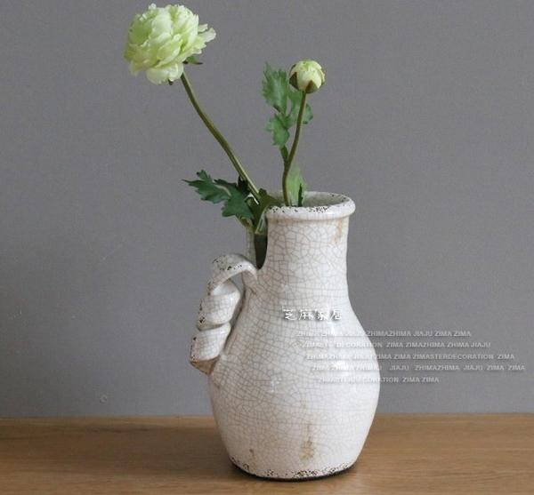 [協貿國際]鄉村風格地中海風冰裂紋做舊手拉坯白色古樸花瓶