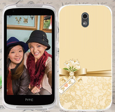 ♥ 俏魔女美人館 ♥ {金色蝴蝶結*水晶硬殼} HTC Desire 526G+手機殼 手機套 保護套