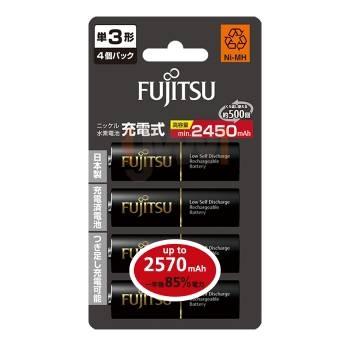 日本製【Fujitsu 富士通】低自放電 3號 2450mAh 鎳氫充電電池 ( AA 4入 ) UP to 2570mAH【公司貨】