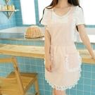 圍裙  時尚廚房圍裙 韓版可愛圍裙 豎條工作圍裙咖啡店圍裙 交換禮物