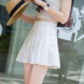 白色百褶裙半身裙短裙 夏季新款學生高腰網球裙A字褲裙女夏【店慶滿月好康八五折】