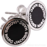 MARC JACOBS Logo Disc Stud 字母琺瑯圓盤耳針式耳環(銀x黑) 1820173-01