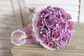 仿真韓式手捧花新娘手捧花束仿真玫瑰婚禮拍攝道具結婚婚慶用花   泡芙女孩輕時尚