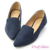 D+AF 知性優雅.素面絨料尖頭低跟鞋*藍