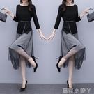 連衣裙女洋氣兩件套2020年春秋季新款小個子輕熟套裝黑色早秋裙子 蘿莉新品