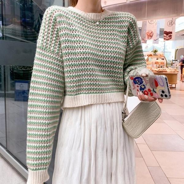 現貨特價 網紅毛衣女秋冬外穿寬松條紋針織衫圓領套頭韓版慵懶風短上衣女裝