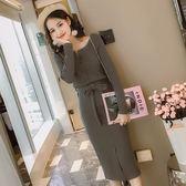 洋裝 秋裝女韓版氣質長袖圓領單排扣修身顯瘦螺紋包臀裙連身裙 迪澳安娜