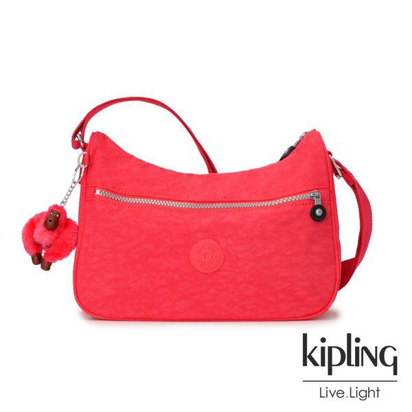 Kipling 亮橘色素面拉鍊側背包-SALLY