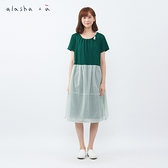 a la sha +a 異材質拼接造型綁帶洋裝