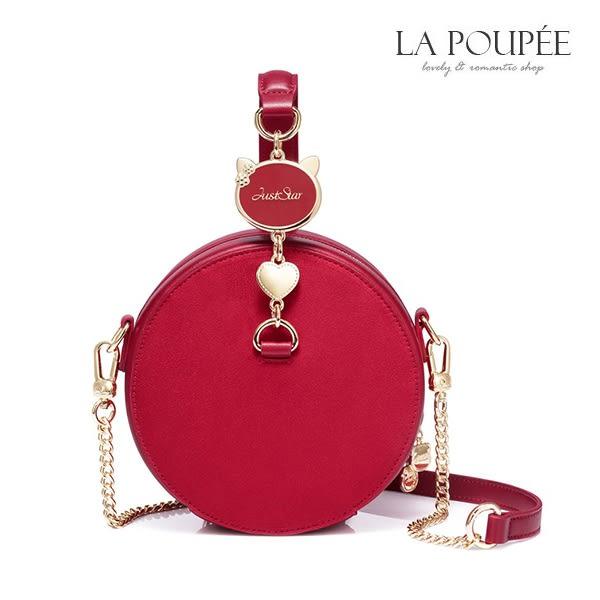 側背包 萌貓當道可愛麂皮絨小圓包-La Poupee樂芙比質感包飾 (現貨)