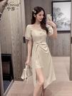 方領洋裝 2021年夏季新款法式方領泡泡袖開叉連身裙中長款不規則短袖裙子女 晶彩