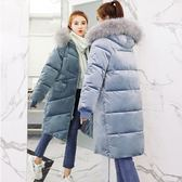 棉服女冬季韓版大衣中長款外套寬鬆BF加厚顯瘦金絲絨棉襖毛領棉衣 挪威森林