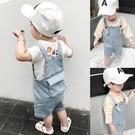 寶寶背帶褲男童牛仔褲夏季新款童裝時尚休閒褲嬰兒短褲兒童褲子潮