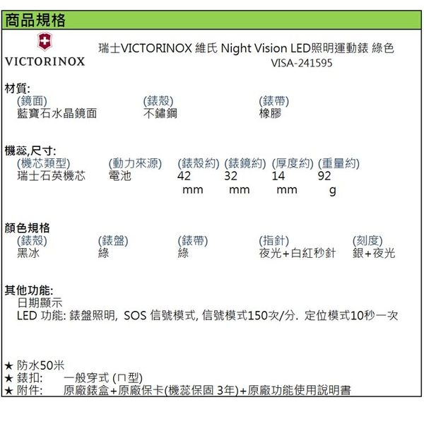 【萬年鐘錶】瑞士VICTORINOX 維氏 Night Vision LED照明運動錶 綠色橡膠帶 VISA-241595