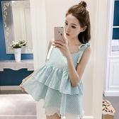 夏季 新款 韓版條紋背心吊帶女外穿V領荷葉邊寬鬆印花上衣 雙11低至8折