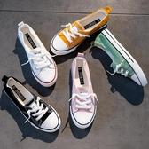 帆布鞋 潮鞋夏款夏季淺口帆布鞋女鞋子韓版一腳蹬板鞋小白鞋布鞋