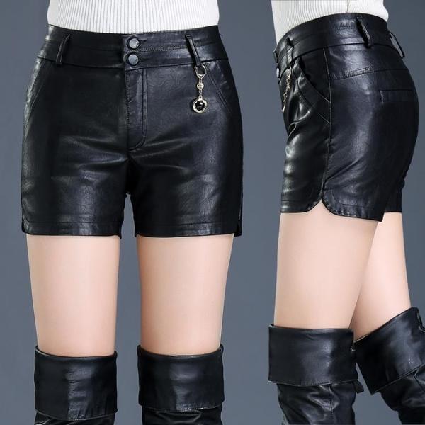 皮短褲女秋冬新款2019打底PU皮褲高腰修身寬鬆顯瘦大碼外穿靴褲子