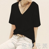 竹節棉長袖 t黑色t恤女短袖寬鬆竹節棉半袖打底衫純棉t夏季體恤大碼大V領上衣 雙十二全館免運