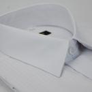 【金‧安德森】白色寬直條紋類絲質窄版短袖...