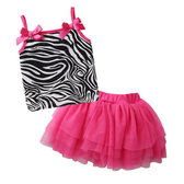 無袖套裝 豹紋 細肩帶小背心 紗裙 女寶寶 Augelute Baby 52234