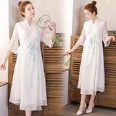 洋装 中大尺碼 2021春季新款改良版漢服印花交領白色仙女大擺連身裙 禪意茶服