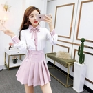 洋裝 套裝裙 很仙的兩件套裝2020春裝新款蝴蝶結襯衣短裙