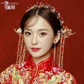 聖誕繽紛節❤秀禾服新娘頭飾中式紅色古裝結婚古風發飾敬酒禮服古典配飾品