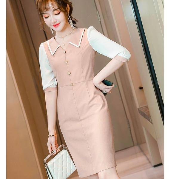 配色端莊OL上班連身五分袖一件式洋裝[21X021-PF]美之札