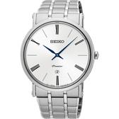 SEIKO 精工 Premier 系列超薄石英錶-銀/40mm 7N39-0CA0S(SKP391J1)