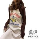 EASON SHOP(GW8130)實拍繽紛卡通長版露肩無袖細肩帶吊帶背心裙連身裙長裙過膝裙棉撞色字母印花