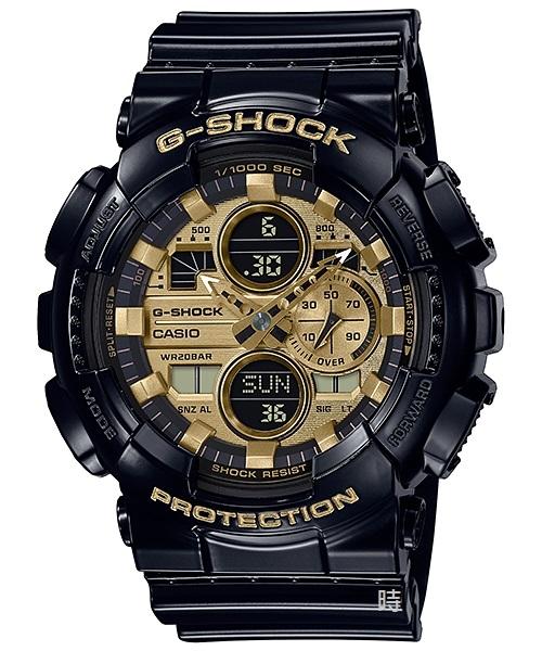 CASIO卡西歐 G-SHOCK 人氣雙顯 黑金手錶 GA-140GB-1A1 禮物/51.2mm