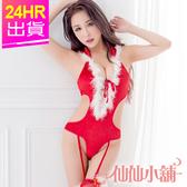 聖誕角色扮演 紅 狂野性感吊襪帶連身聖誕服 耶誕服 表演服 聖誕節 角色服 仙仙小舖